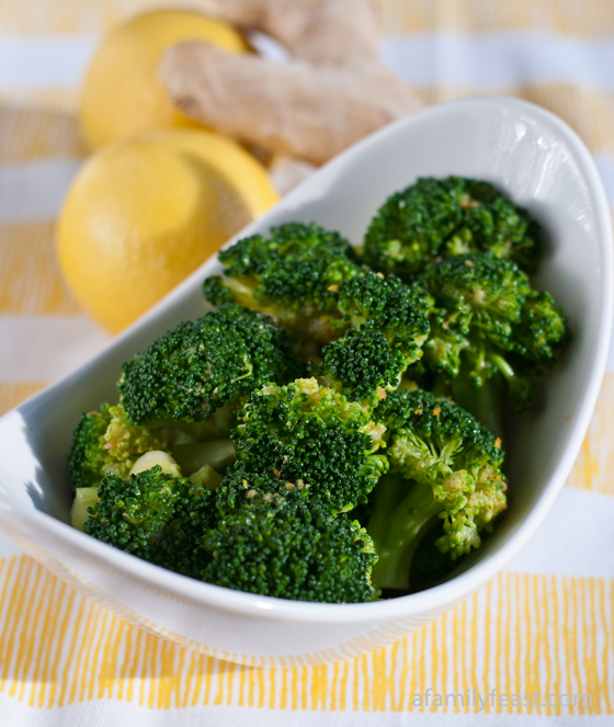 Lemon-Ginger Broccoli -A healthy and delicious way to prepare broccoli: With an Asian inspired sauce made with soy sauce, lemon juice, fresh ginger, and sesame oil.