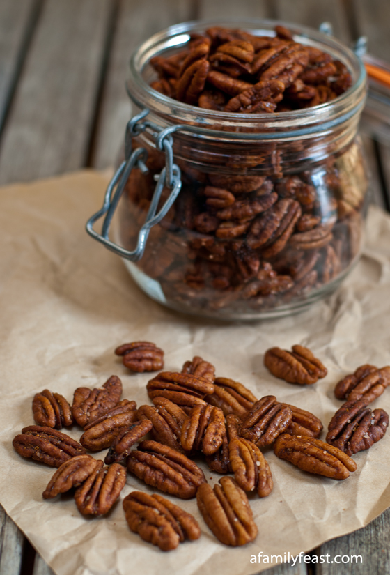 Addictively delicious spiced pecans with cinnamon, cumin, cayenne pepper, salt and sugar. Delicious on salads or as a snack.