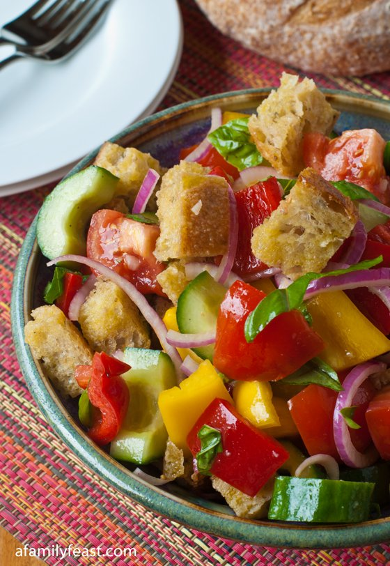 this recipe for panzanella a fabulous salad made with bread tomatoes ...