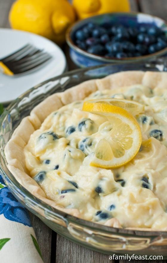 Lemon Blueberry Cream Pie - A Family Feast