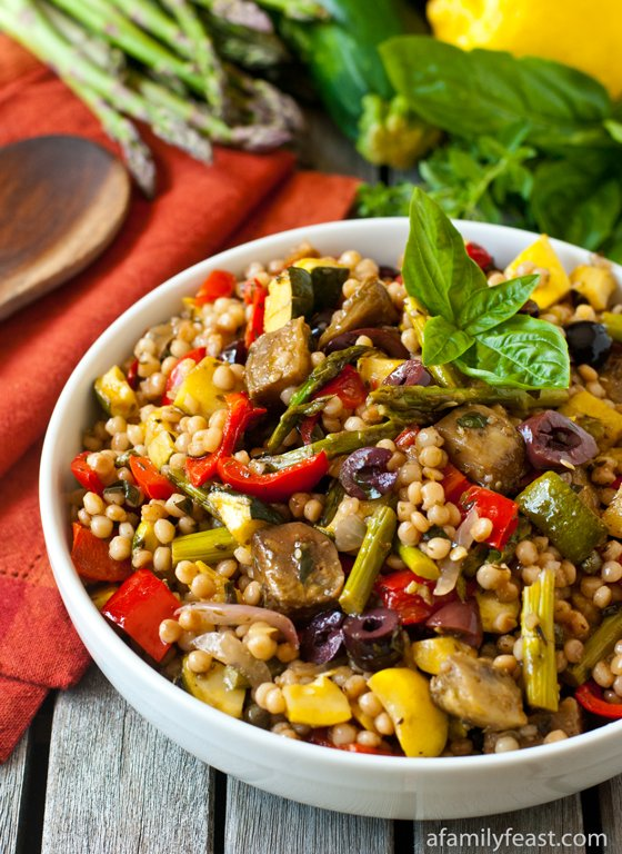 Mediterranean Isreali Couscous Salad with Roasted Vegetables - A Family Feast