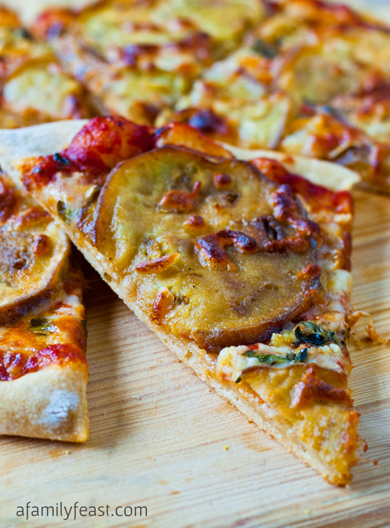 Eggplant & Garlic Pizza - A Family Feast