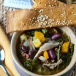 Kale and Shiitake Mushroom Soup with Ginger Sesame Lavash - A Familly Feast