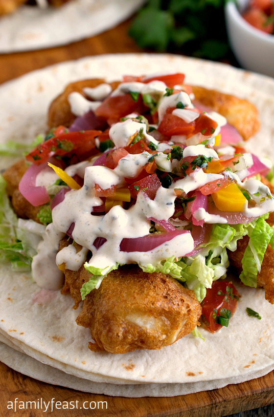 These Fish Tacos have fantastic and unexpected flavors. And the crispy fish batter is the best I've had - light and perfectly crispy!