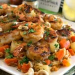 Garlic Lemon Shrimp with Savory Root Vegetable Rice Pilaf - A Family Feast