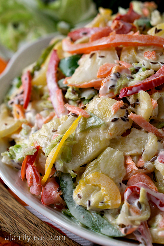 Sweet Bell Pepper Slaw With Pineapple - A Family Feast