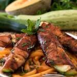 Prosciutto Wrapped Zucchini Over Melon Pasta - A Family Feast