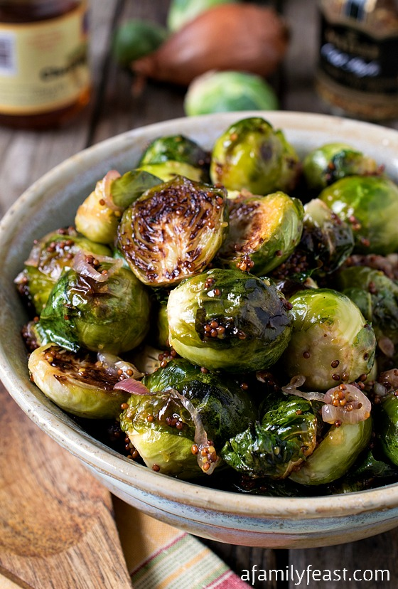 Oven Roasted Brussels Sprouts with Mustard and Shallots - A Family Feast
