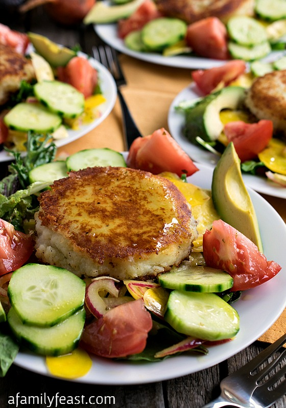 Summer Salad with Goat Cheese-Filled Potato Cakes - Crisp fresh garden ...