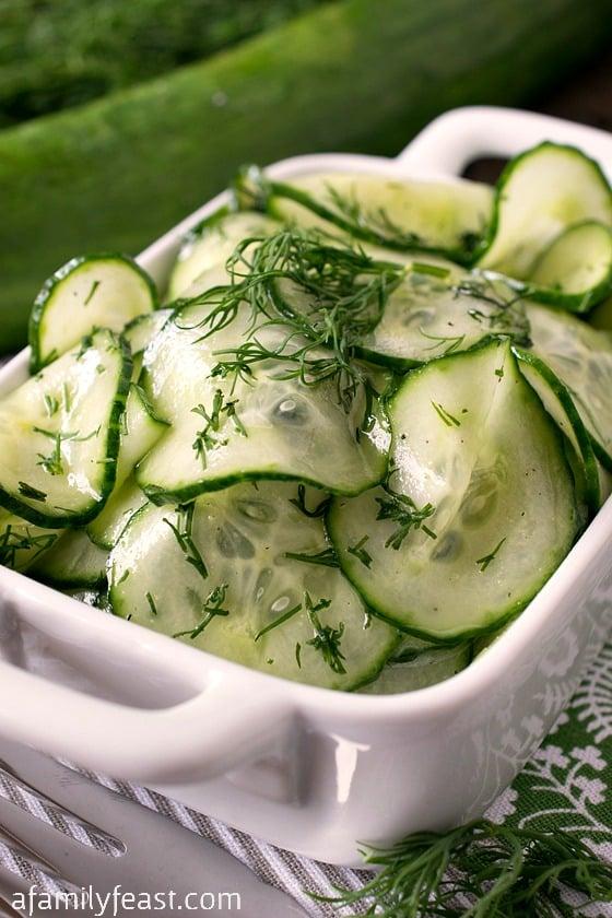 Simple Cucumber Salad - A Family Feast