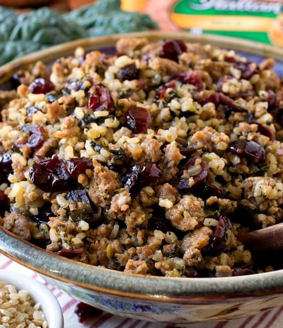 Italian Sausage and Rice Dressing with Kale and Cranberries